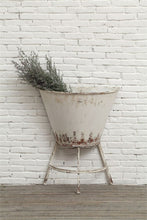 Vintage Inspired Antique White Metal Half Wall Planter on Stand