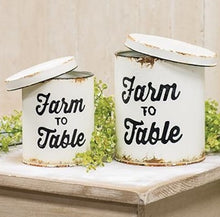 Enamel Farm to Table Lidded Canisters, Set of 2