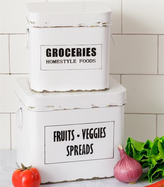LARGE Enamel Groceries and Fruits, Veggies, Spreads Boxes, Set of 2