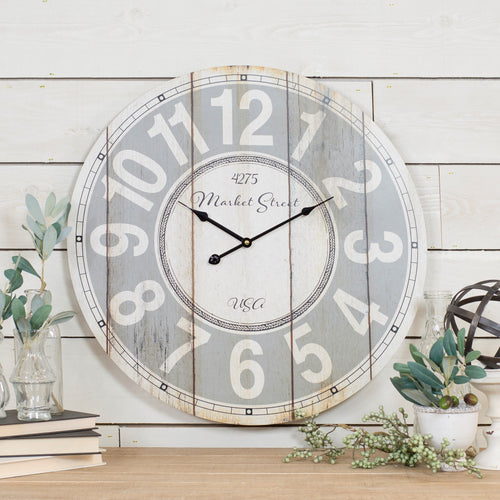 Market Street Wood Wall Clock