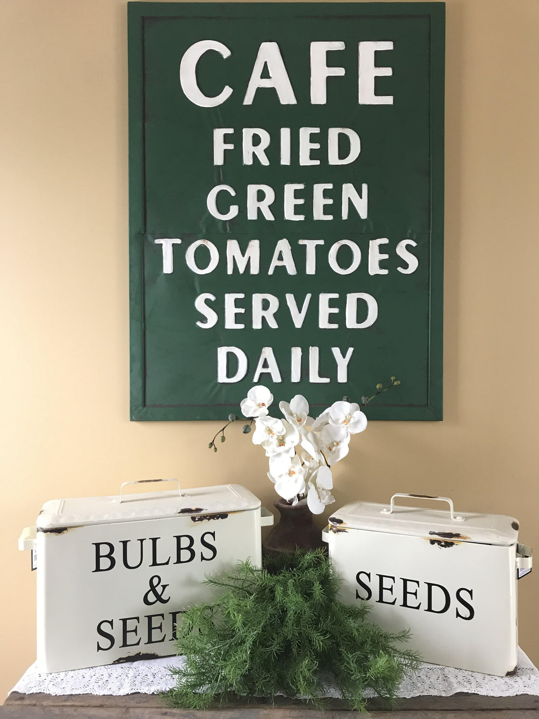 Vintage Embossed Metal Quot Fried Green Tomatoes Quot Sign