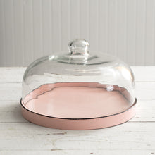 Glass Cloche with Pink Enameled Metal Base