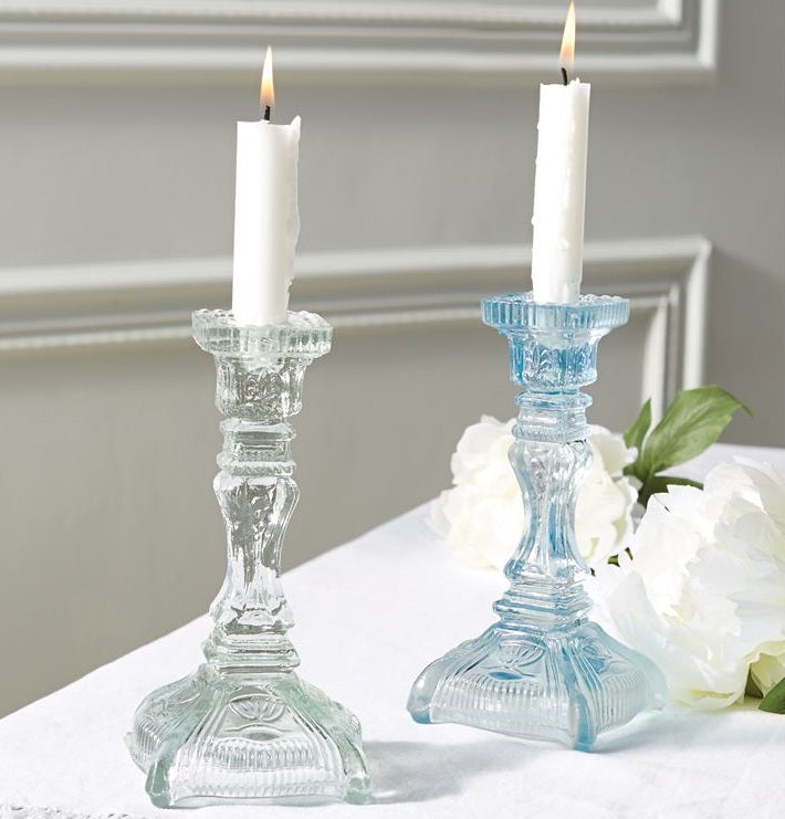Vintage Cut Glass Candlestick Holders, Set of 2
