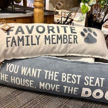 "Washed Canvas ""Favorite Family Member"" LONG Pillow"