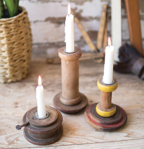 Wooden Spool Taper Candle Holders, Set of 3