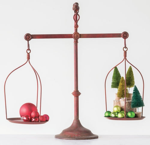 Distressed Red Decorative Iron Balance Scale with Bird Topper