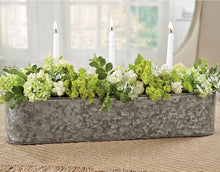 Floral and Candle Galvanized Trough