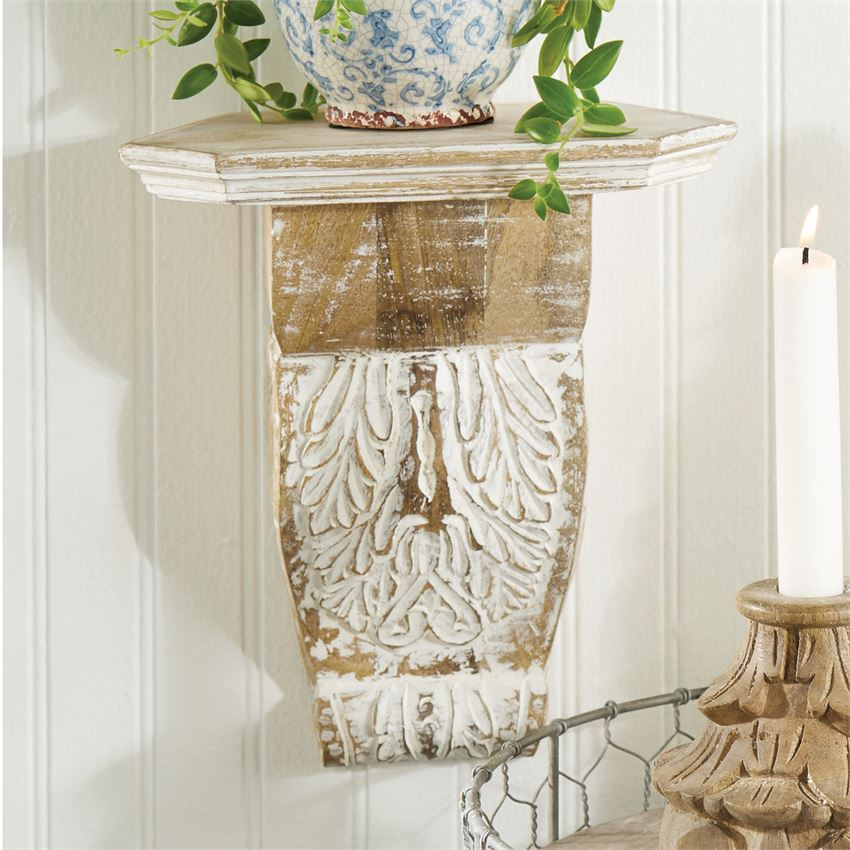 White Wash Wood Corbel Shelf