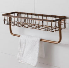 Copper Finish Wall Organizer with Towel Bar