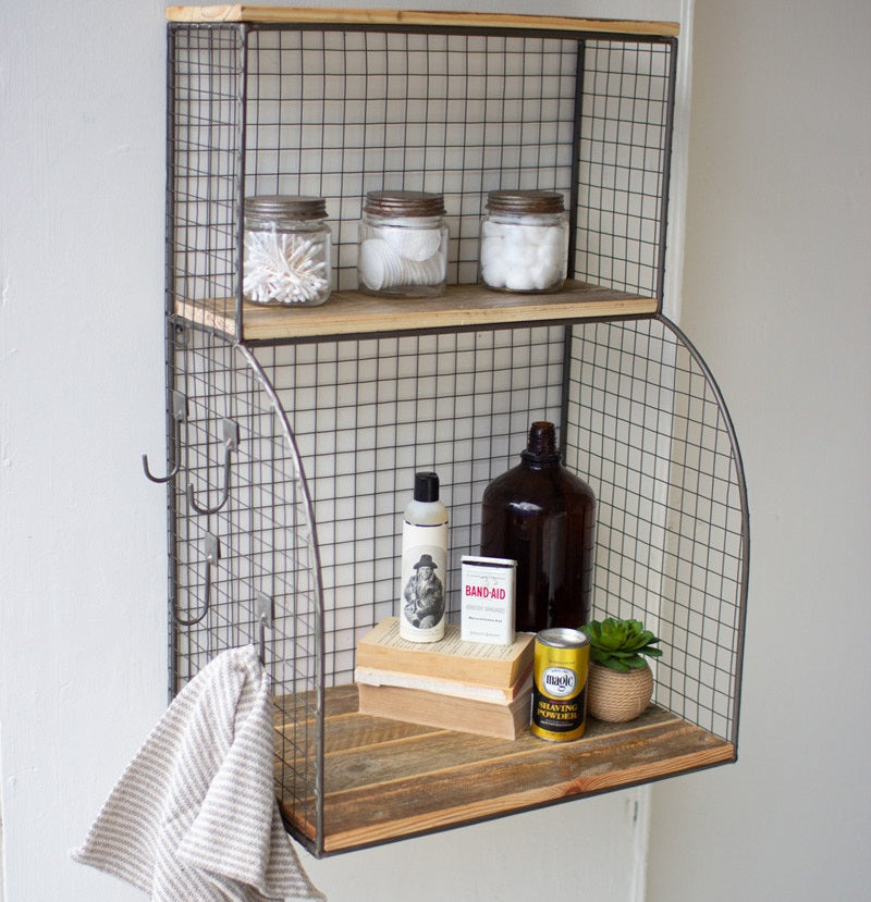 Recycled Wood and Wire Mesh Wall Organizer / Bar