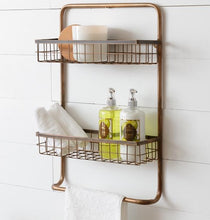 Two-Tiered Copper Finish Wall Organizer with Towel Bar