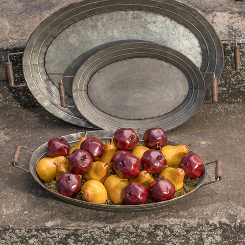 Set of 3 Oval Metal Trays