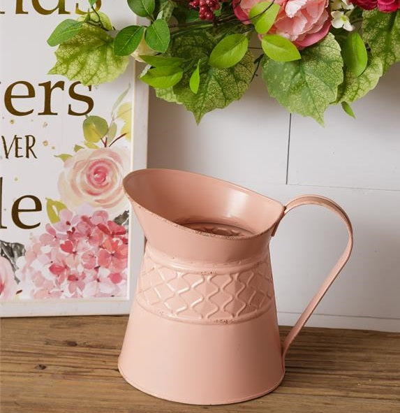 Embossed Enamel Pale Pink Pitcher