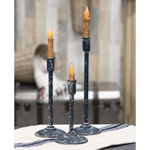 Distressed Black Taper Candle Holders and LED Candles, Set of 3