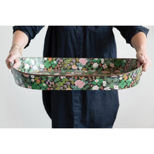 HUGE Floral Patterned Metal Tray with Handles
