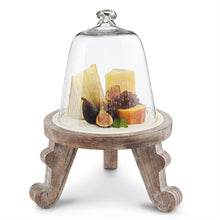 French Country Wood Pedestal and Cloche Set