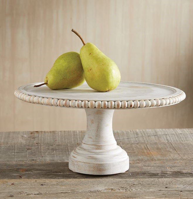 White-Washed Beaded Cake Stand
