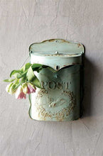 Embossed Tin Letter Box, Aqua