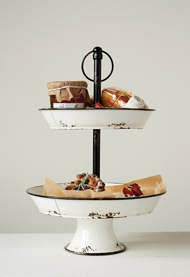 Distressed White Enamel 2-Tier Tray