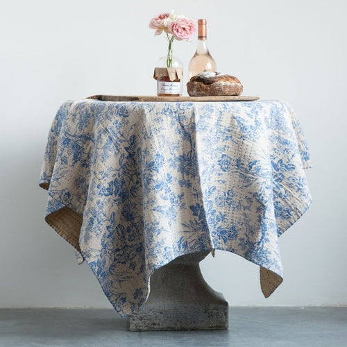 French Country Cotton Chambray Toile Hand Stitched Blue and Cream Throw