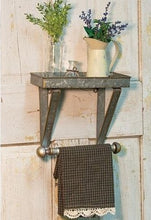 Galvanized Metal Towel Hanger with Shelf