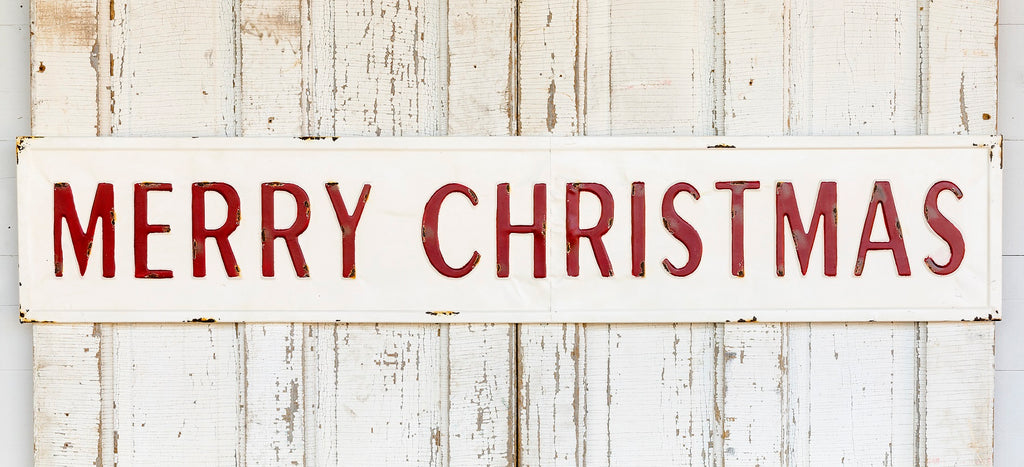 Vintage Embossed Metal Merry Christmas Sign Farmhouse