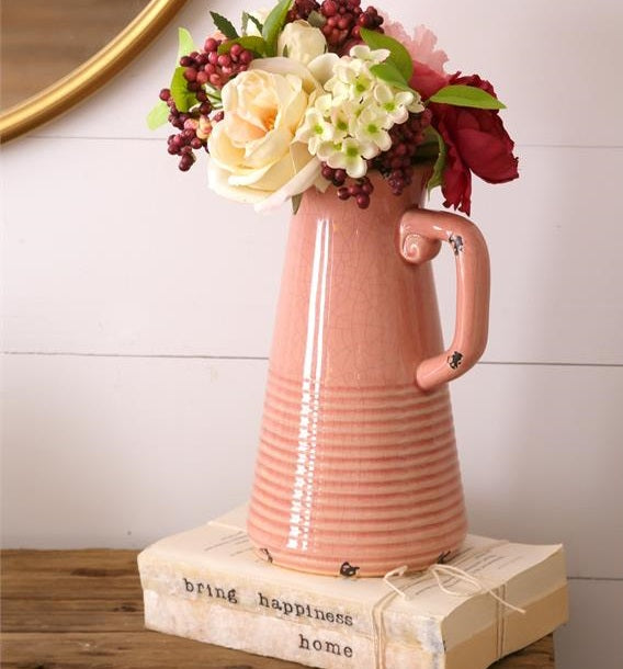 LARGE Tickled Pink Stoneware Pitcher