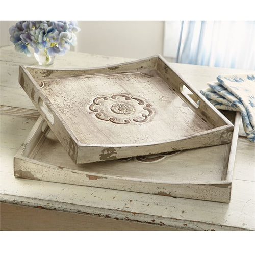Floral Carved Wood Tray Set
