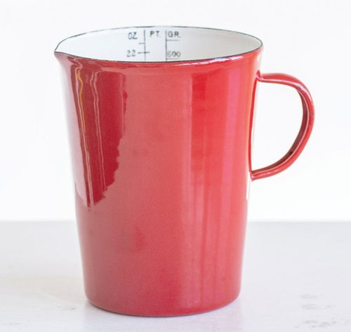 Vintage Style Red Enamel Pitcher with Measurements