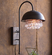 Metal Dome Wall Sconce Pendant Light with Hanging Gems