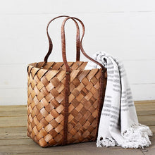 Braided Wood Chip Hand Bag Basket