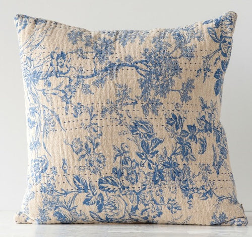 French Country Cotton Chambray Toile Blue and Cream Throw Pillow