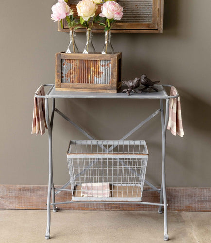 Metal Wash Stand with Basket