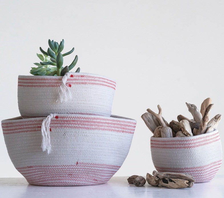 Hand Woven Red & White Rope Baskets with Tassels, Set of 3