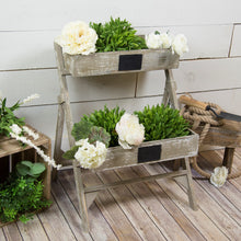 Rustic Wood 2-Tier Planter Stand
