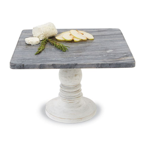 White-Wash Wood & Marble Pedestal