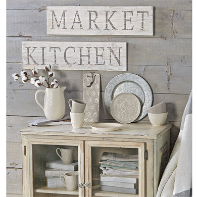 White-Washed Wood Kitchen AND Market Signs, Set of 2