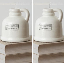 White Cottage Stoneware Jugs, Set of 2