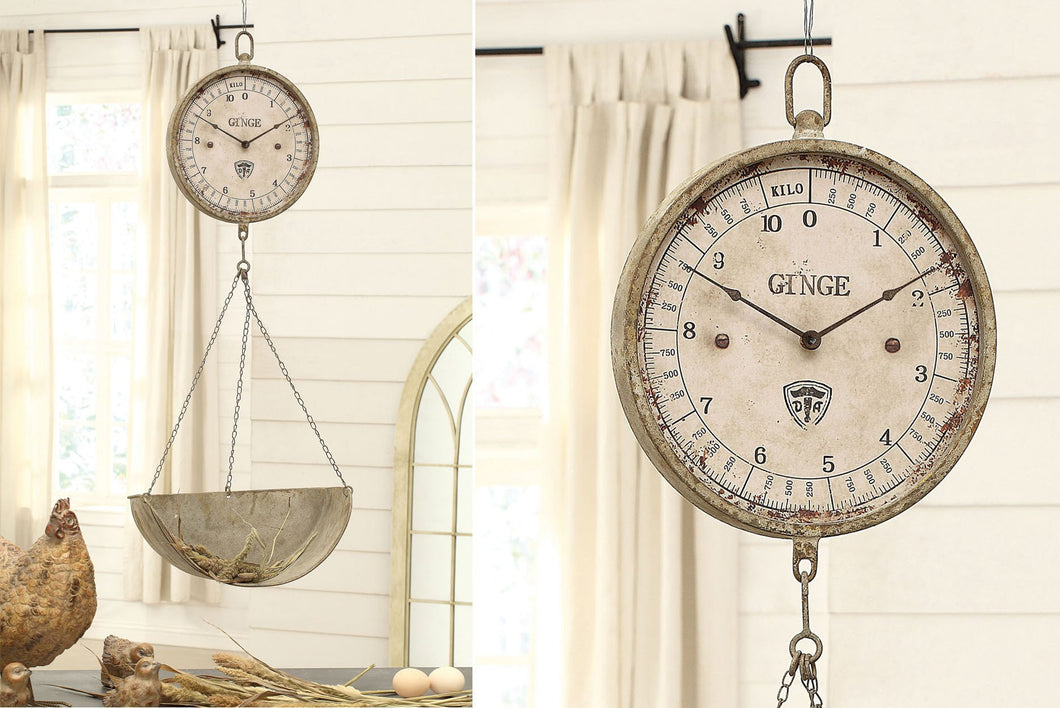 Vintage Inspired Metal Hanging Produce Scale Clock Farmhouse Fresh