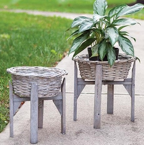 Gray Willow Flower Baskets with Stand, Set of 2