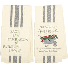 April & Olive Wheelbarrow and Herbs Tea Towels, Set of 2