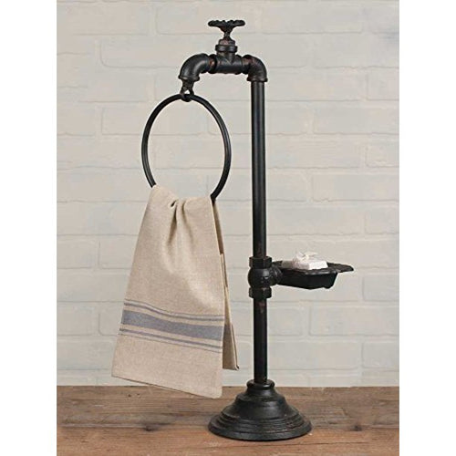 Iron Spigot Towel Bar with Soap Dish