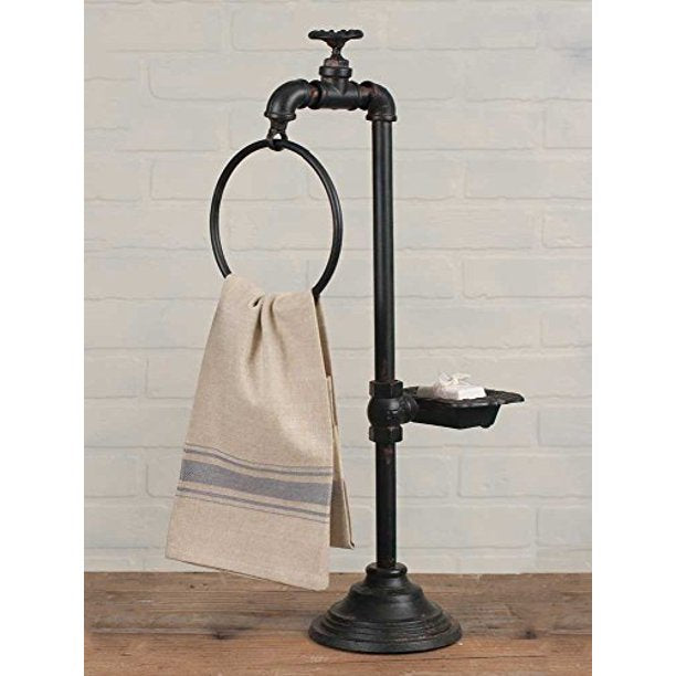 Iron Spigot Towel Bar with Soap Dish and Organizer