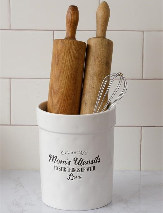 Mom's Utensils Ceramic Crock