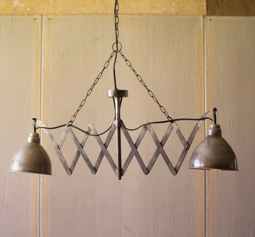 Dirty Silver Industrial Twin Lamp Pendant Light