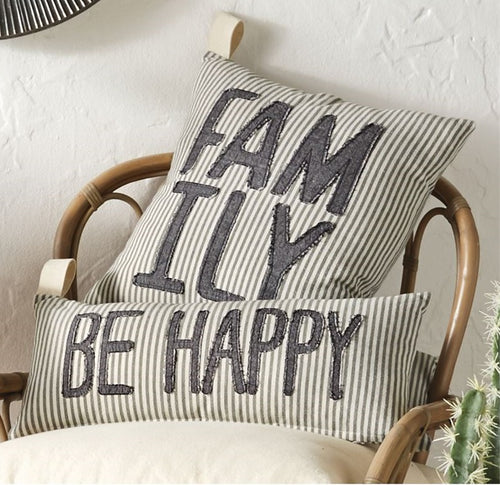 Ticking Stripe and Denim Family and Be Happy Pillow Set