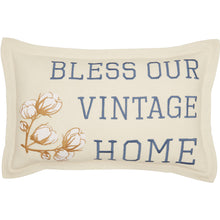 Bless Our Vintage Home Embroidered Pillow