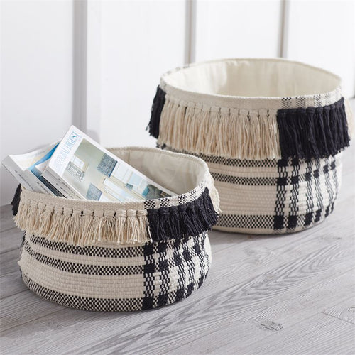 Black and White Check Baskets, Set of 2