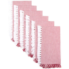 Ashton Red and White Ticking Stripe Napkins, Set of 6