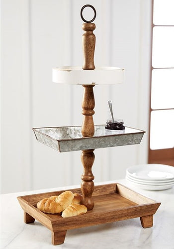 Wood and Tin 3-Tiered Server
